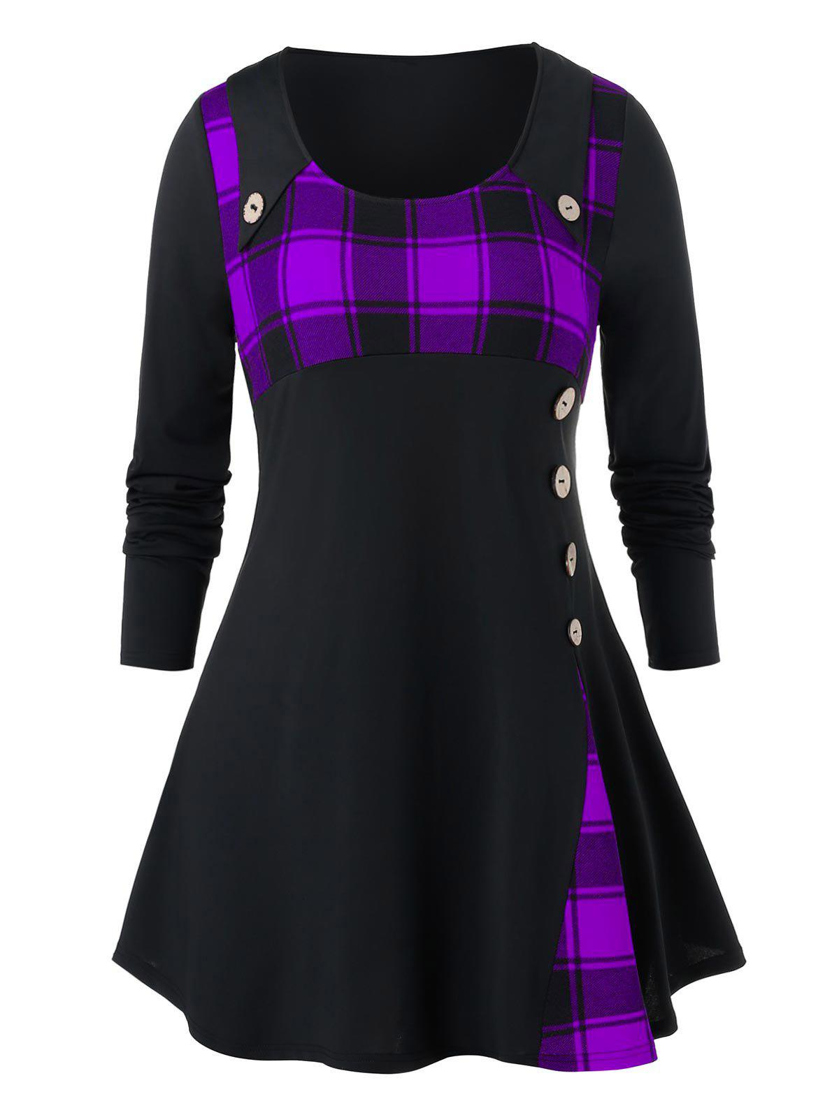 Plus Size Grid Pattern Button Longline High Waist Shirt - PURPLE AMETHYST 1X