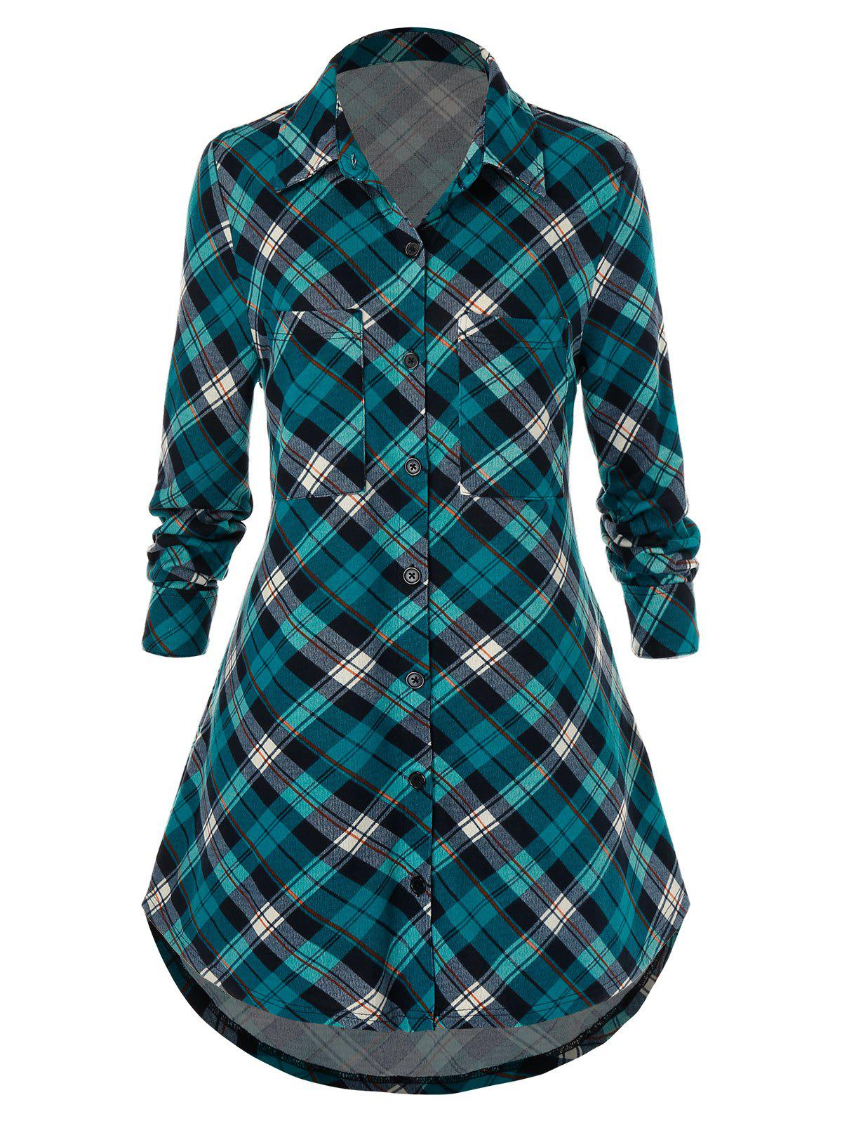 Plus Size Plaid Shirt poches - multicolor 5X