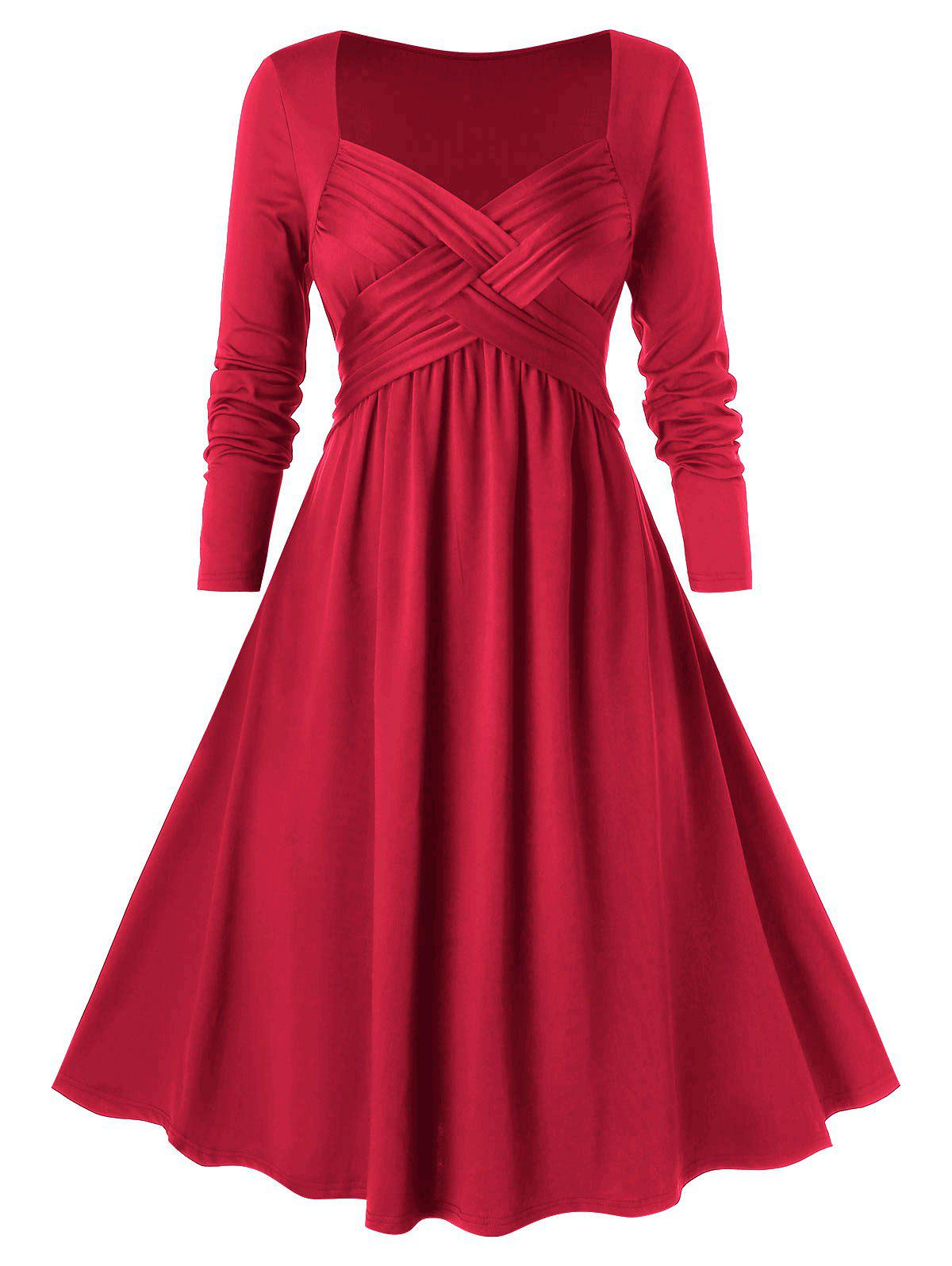 Plus Size Crossover Midi Flare Dress - CHESTNUT RED 1X