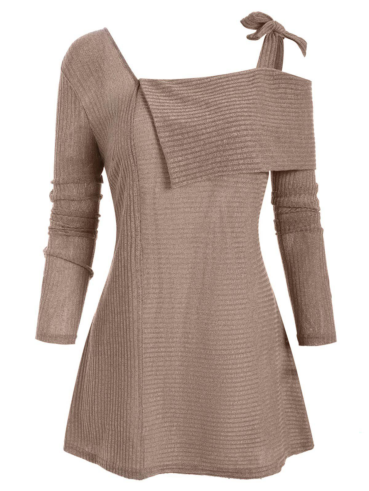 Tie Ribbed Folded Plus Size Knitwear - TAN L