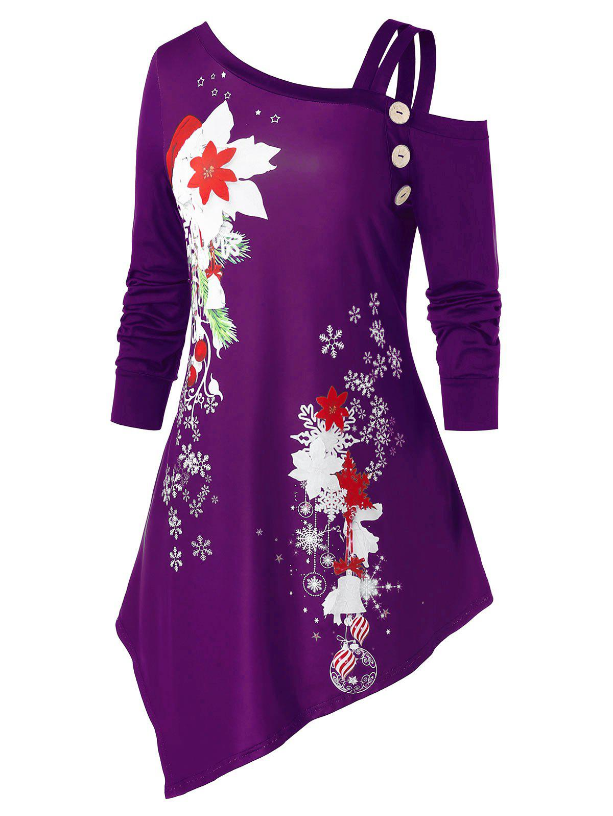 Plus Size Christmas Snowflake Flower Asymmetric Skew Collar Tee - PURPLE IRIS 2X