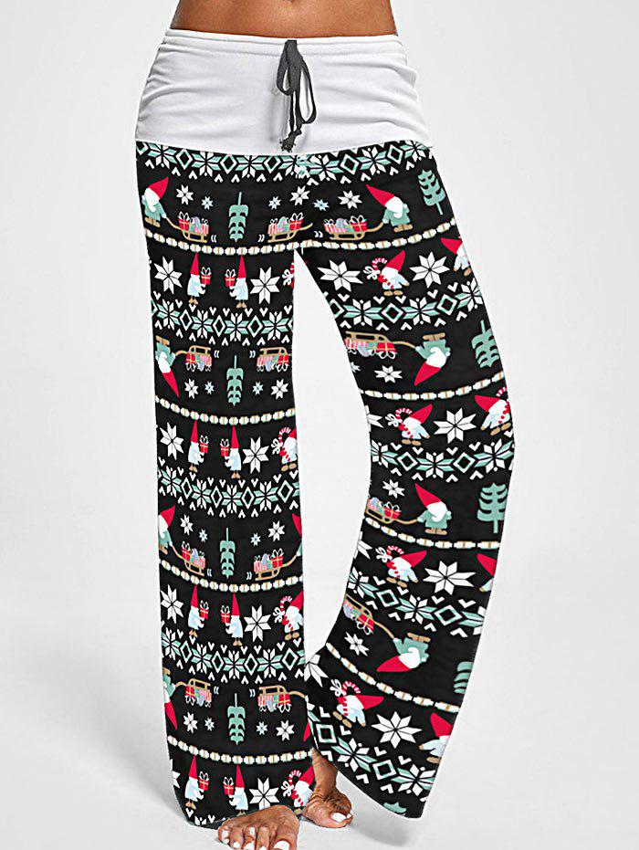 Christmas Tree Santa Claus Bowknot Wide Leg Pants - multicolor B 2XL