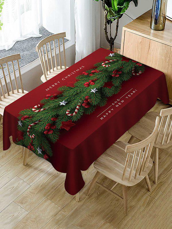 Merry Christmas Happy New Year Fabric Table Cloth - RED WINE W55 X L55 INCH