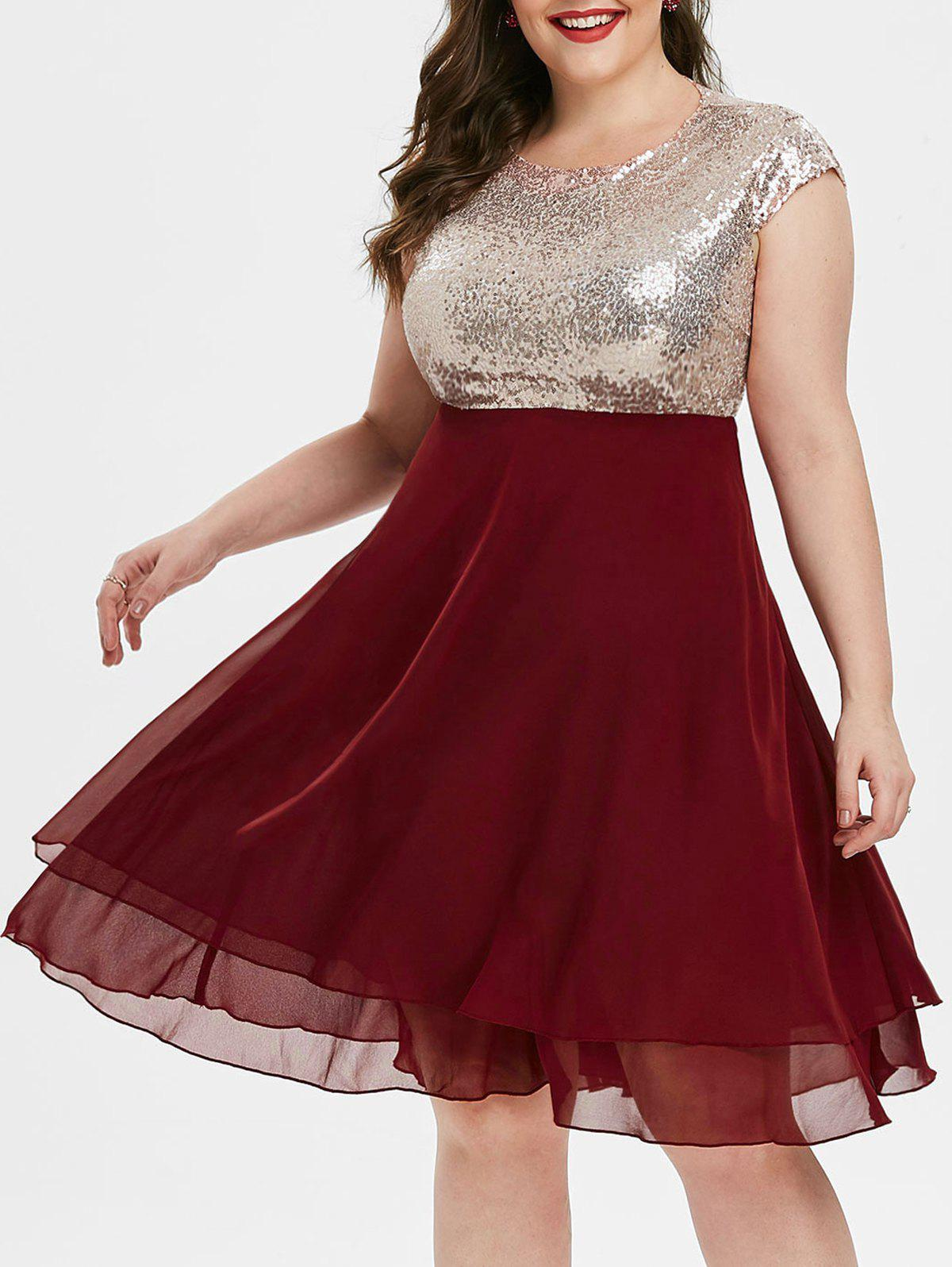 Mancherons en mousseline de soie pailletée Panel Plus Size robe de bal - Rouge Vineux 3X