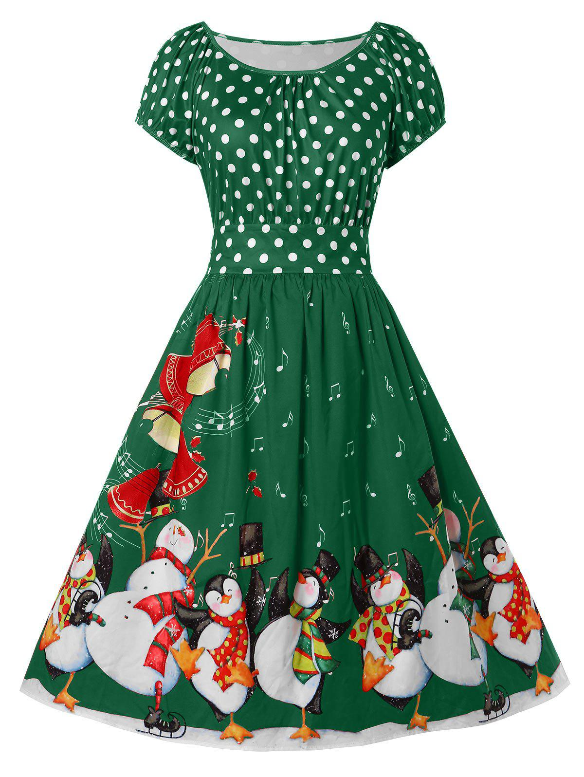 Plus Size Penguin Print Christmas Dress - MEDIUM FOREST GREEN 4X
