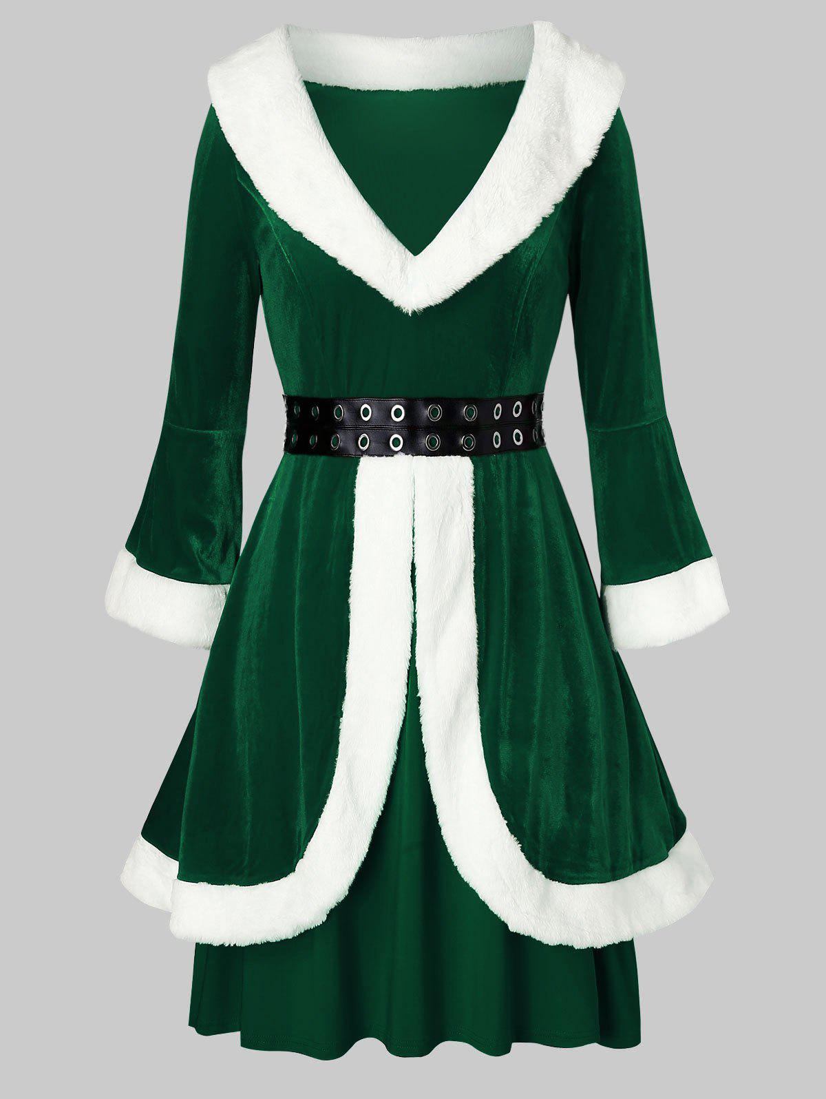 Plus Size Faux Fur Grommets Velvet Christmas Dress - MEDIUM SEA GREEN 4X