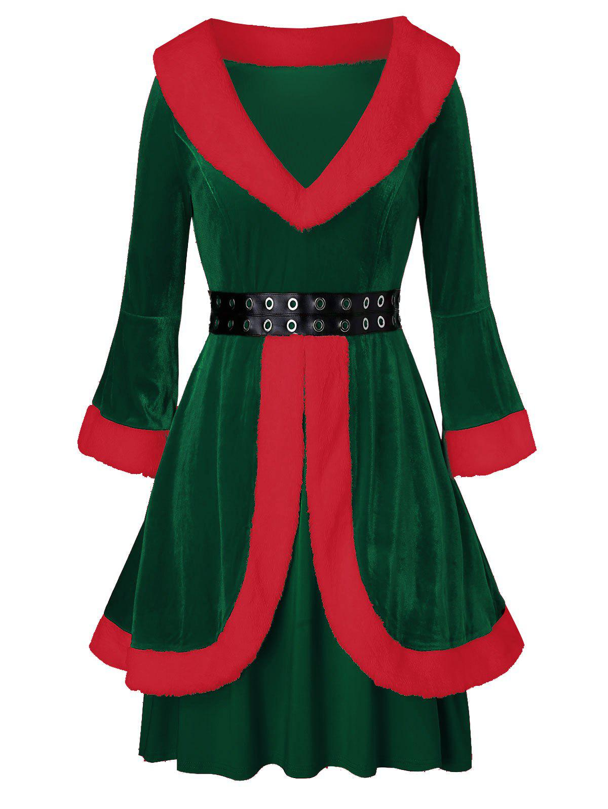 Plus Size Faux Fur Grommets Velvet Christmas Dress - MEDIUM FOREST GREEN 2X