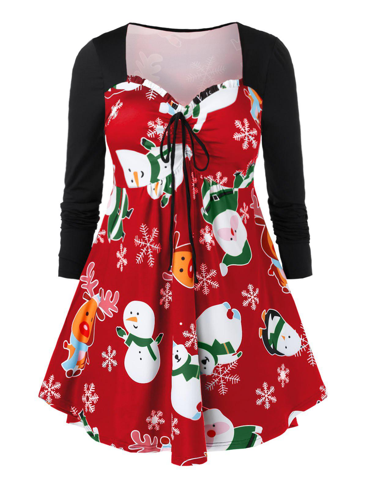 Plus Size Cinched Christmas Printed T Shirt - RED 2X