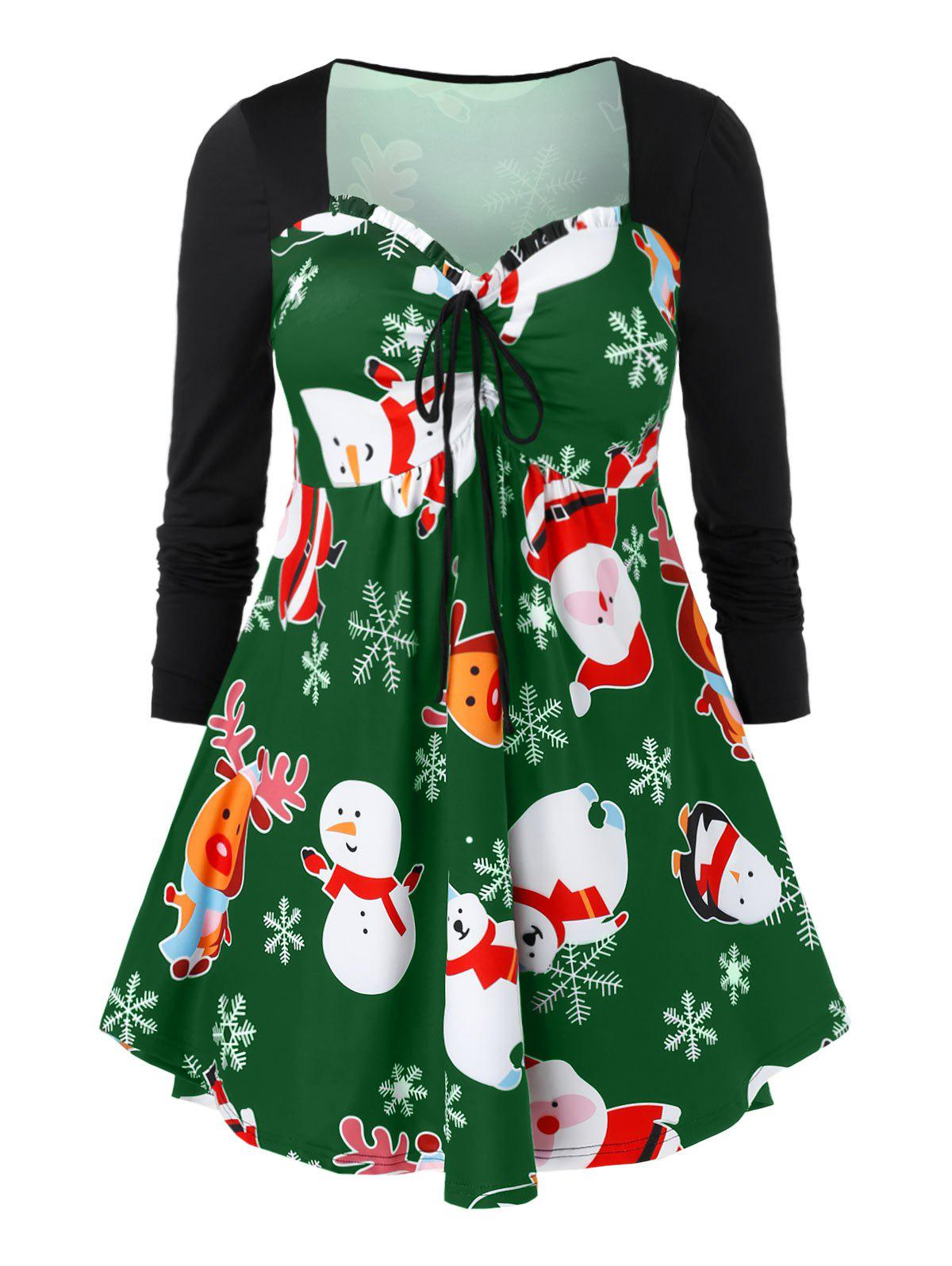Plus Size Cinched Christmas Printed T Shirt - JUNGLE GREEN 4X