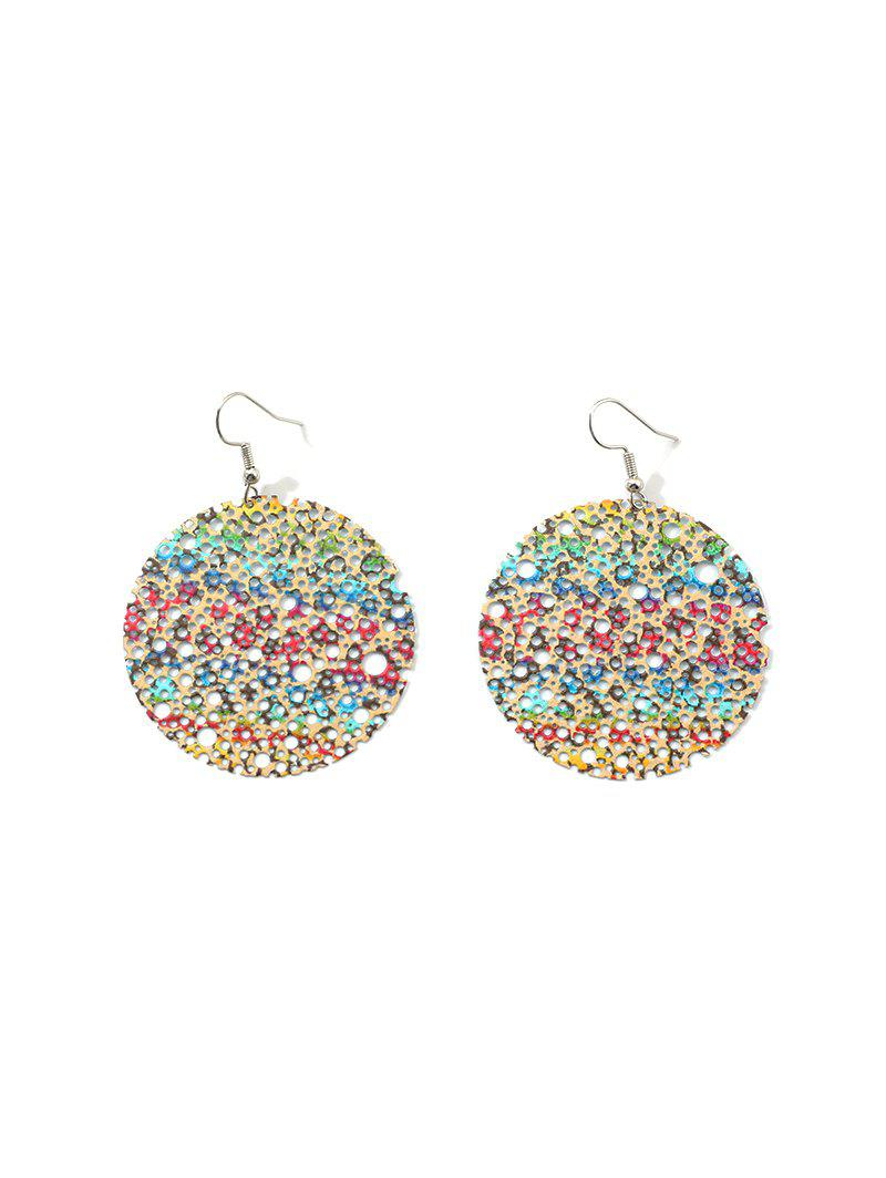 Hollow Out Color Painted Round Drop Earrings - multicolor