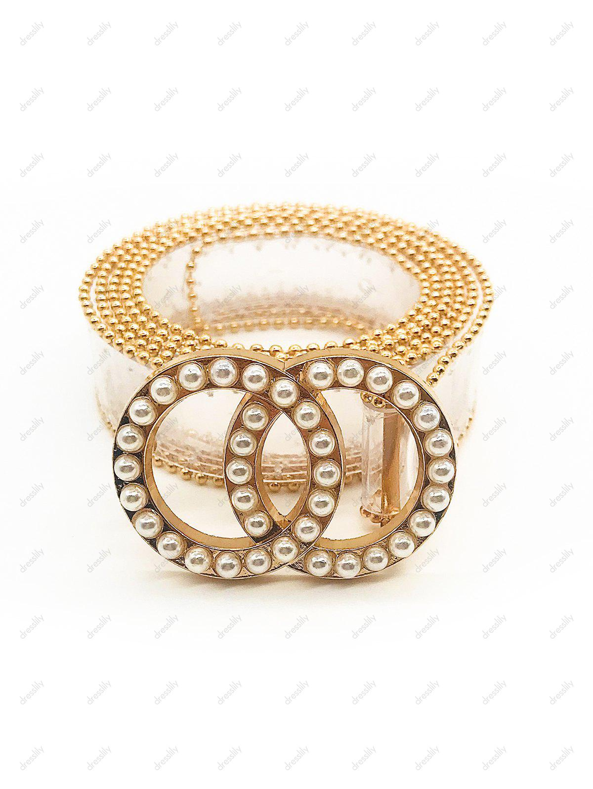 Artificial Pearl Round Shape Beaded Belt - TRANSPARENT