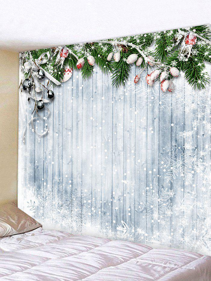 Christmas Snowflake Wooden Printed Tapestry - SILVER W79 X L71 INCH