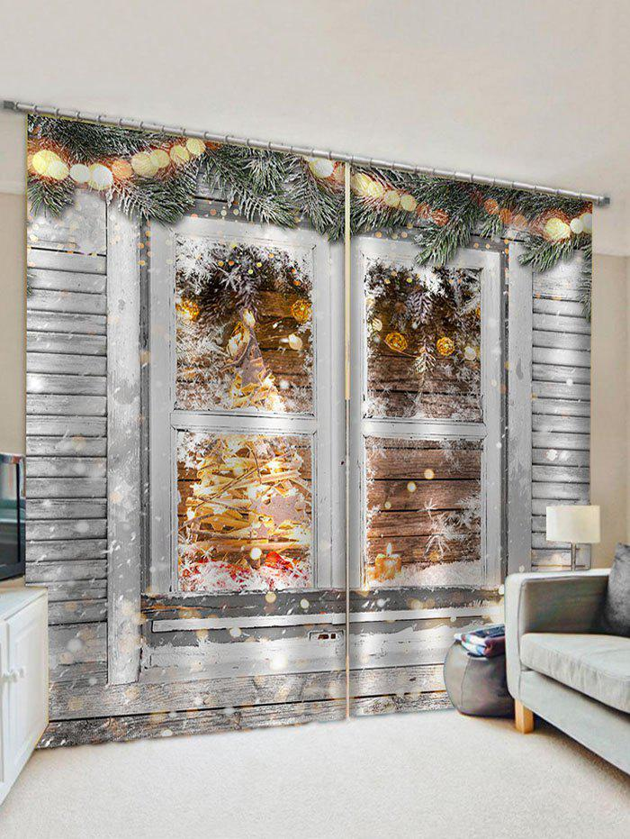 2 Panels Christmas Branch Window Print Window Curtains - multicolor W28 X L39 INCH X 2PCS