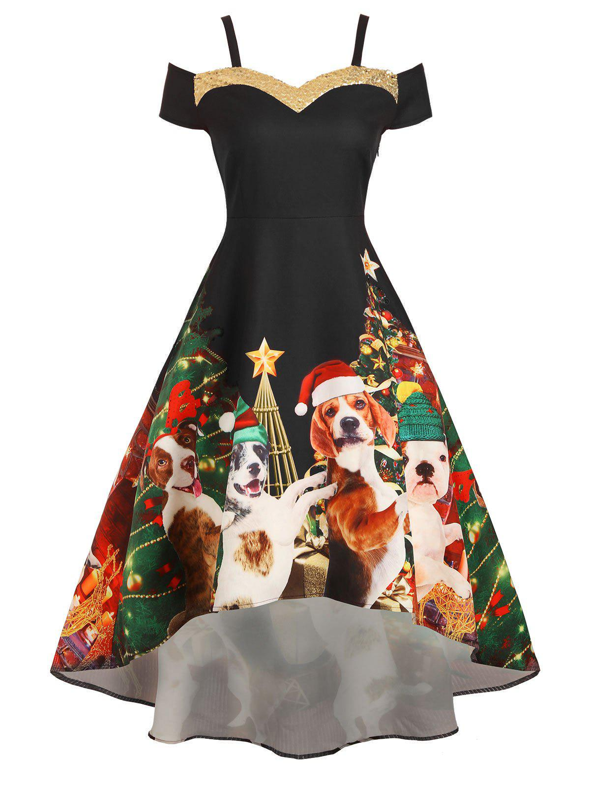 Christmas Tree Dog Print Sequined Cold Shoulder Party Dress - BLACK XL