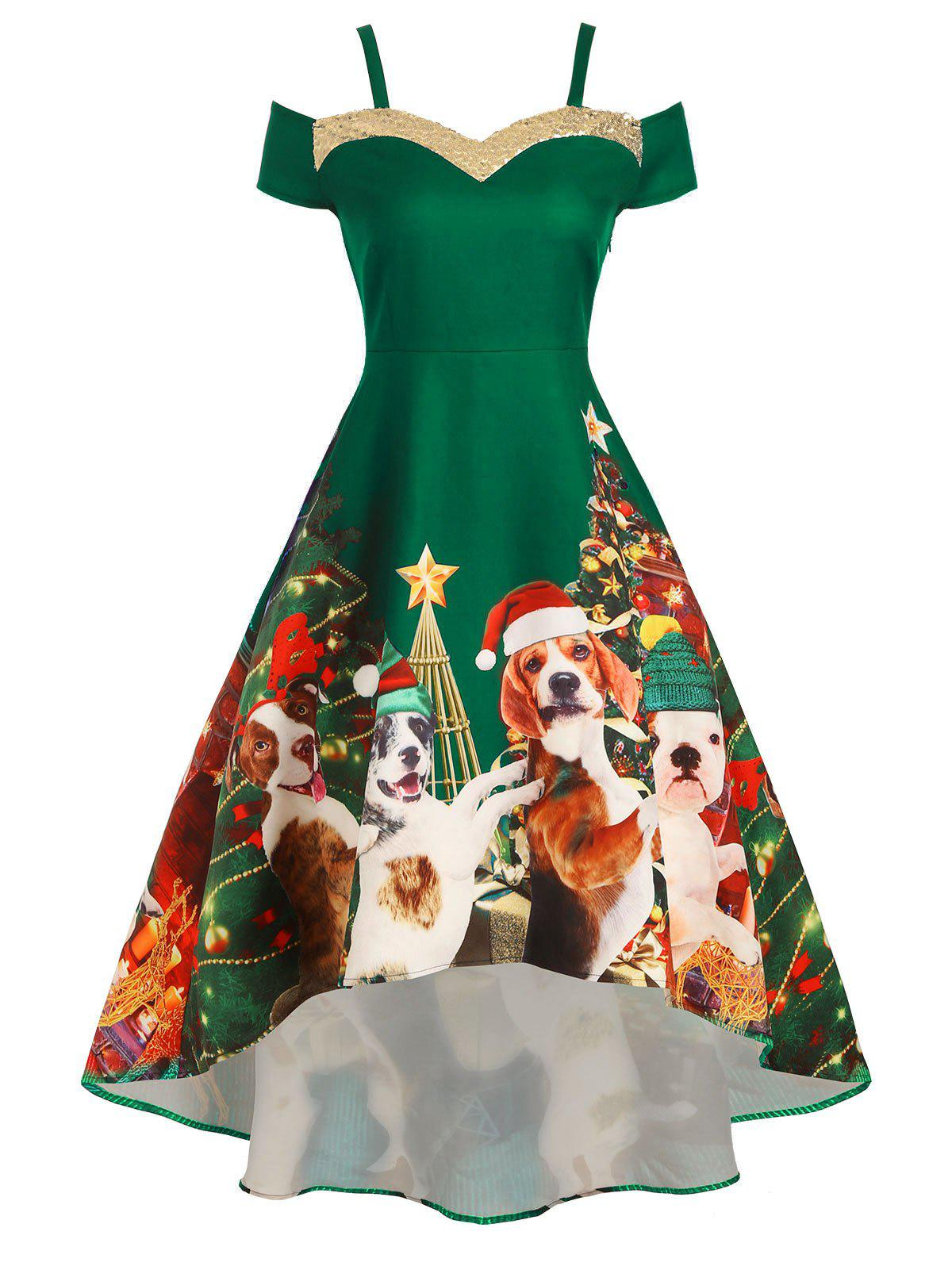 Christmas Tree Dog Print Sequined Cold Shoulder Party Dress - DEEP GREEN XL