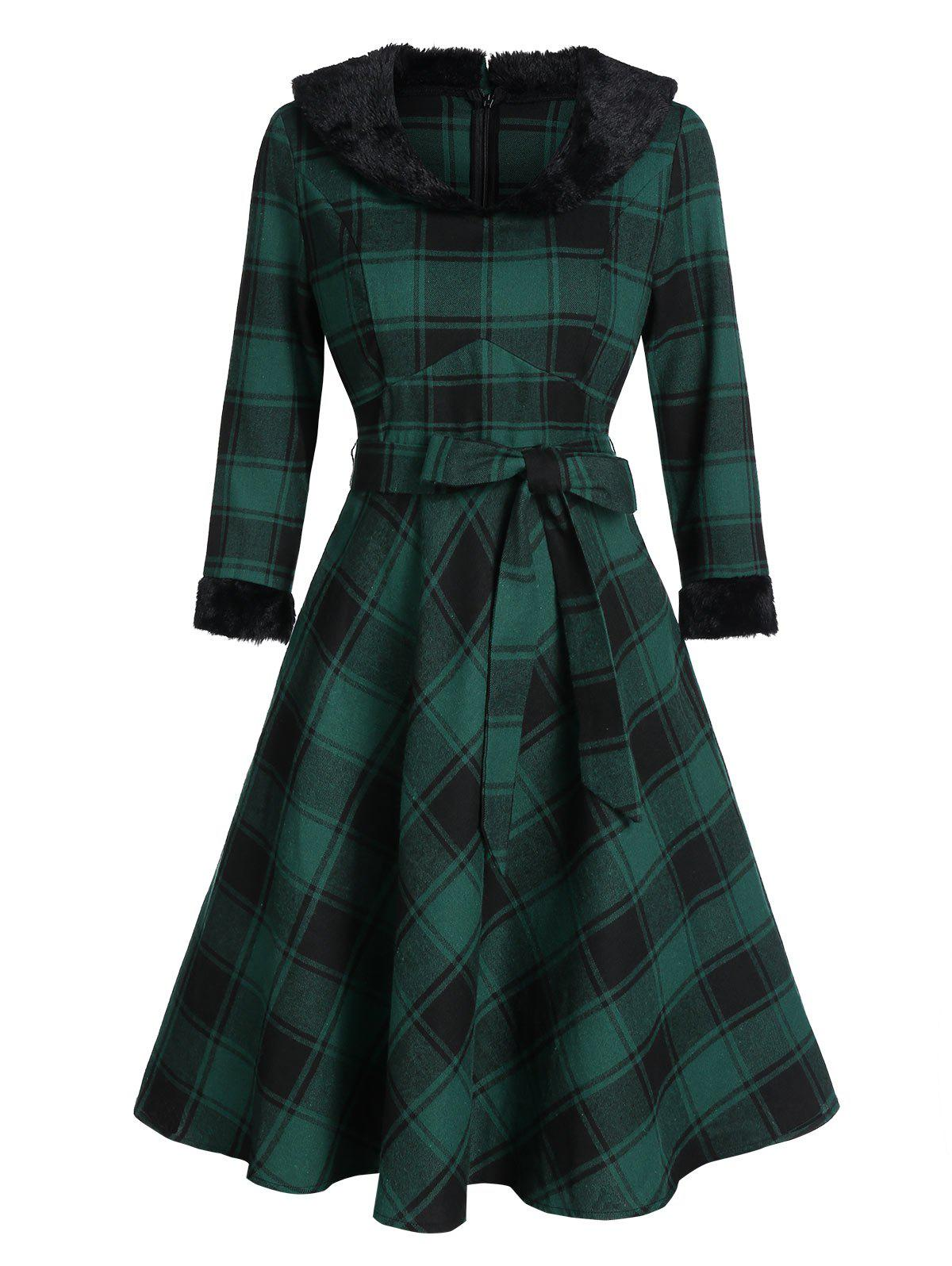 Plaid Print Faux Fur Collar Belted Skater Dress - MEDIUM SEA GREEN 2XL