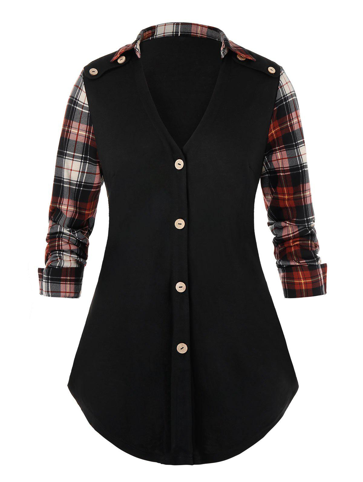 Plus Size Plaid Panel Mock Button Long Sleeve Tee - BLACK 3X