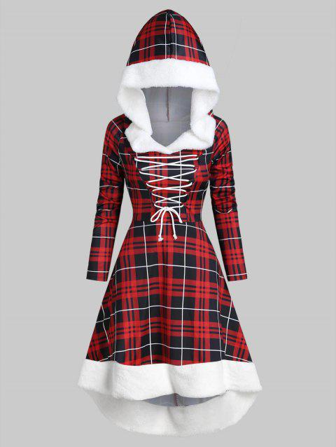 Plaid Faux Fur Insert Hooded Lace Up High Low Dress - RED WINE M