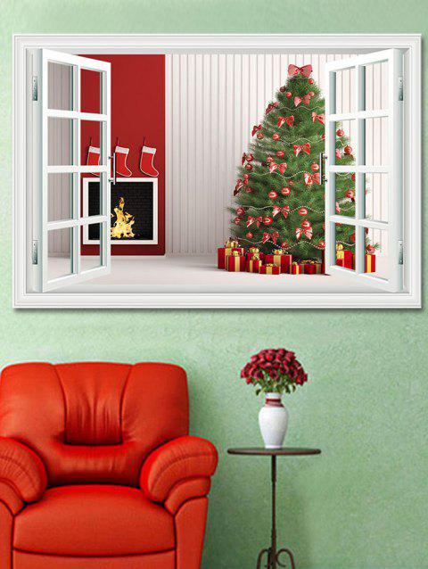 Christmas Tree Gifts Window Print Decorative Wall Art Sticker