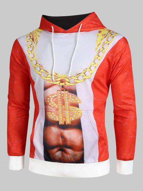 Plus Size Naked Belly Chain Christmas Hoodie - RED 5XL