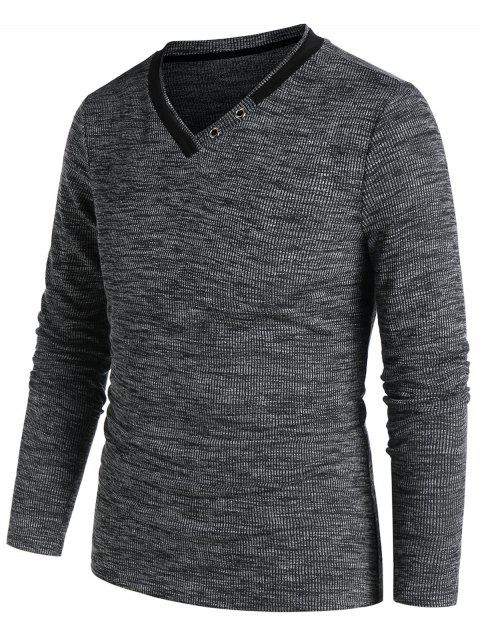 V Neck Grommet Heathered Ribbed T-shirt - ASH GRAY 3XL