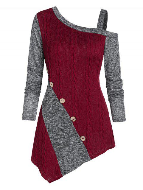 Asymmetric Cable Knit Heathered Contrast Sweater - RED WINE 3XL