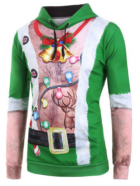 Ugly Chest Hair Print Front Pocket Christmas Hoodie