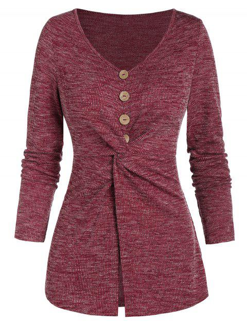 Twist Front Mock Button Heathered Ribbed Knitwear