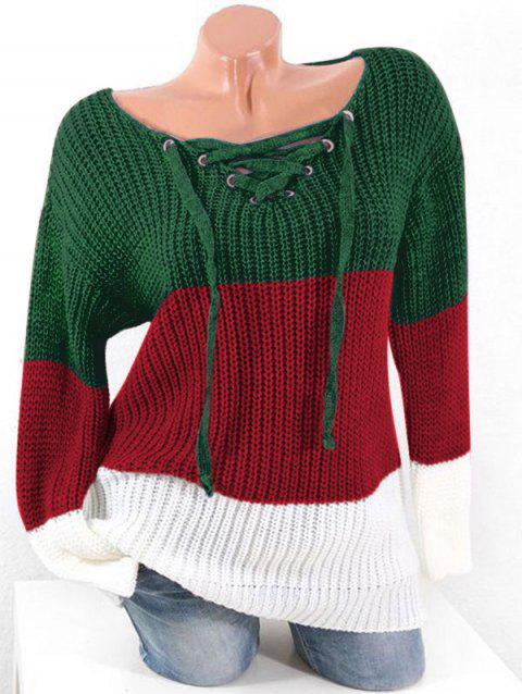 Plus Size Colorblock Lace Up Chunky Sweater