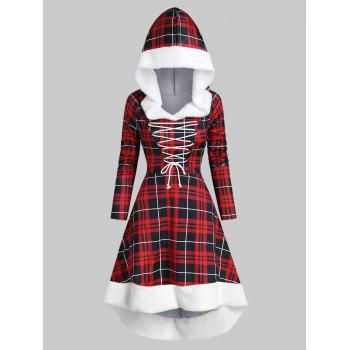 Plaid Faux Fur Insert Hooded Lace Up High Low Dress