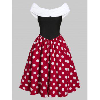 polka dot print ruched midi a line dress
