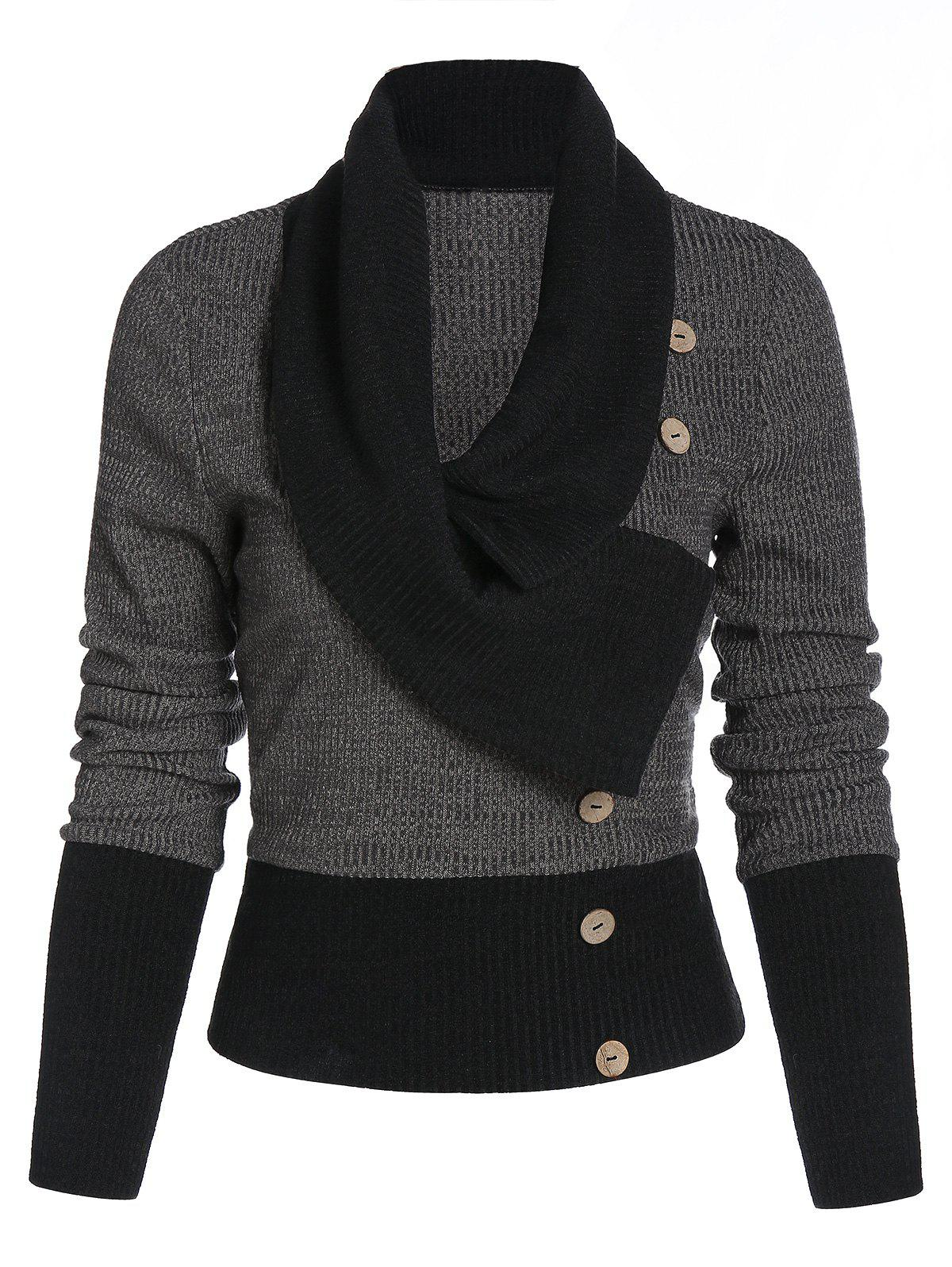 Mock Button Contrast Ribbed Sweater - ASH GRAY L