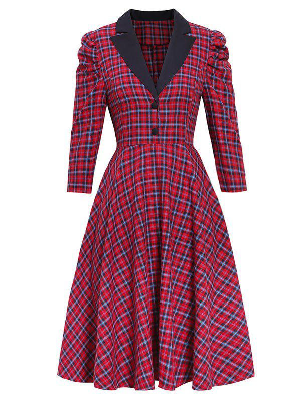 Plaid Gigot Sleeve Button Embellished Rockabilly Style Dress - RED 2XL