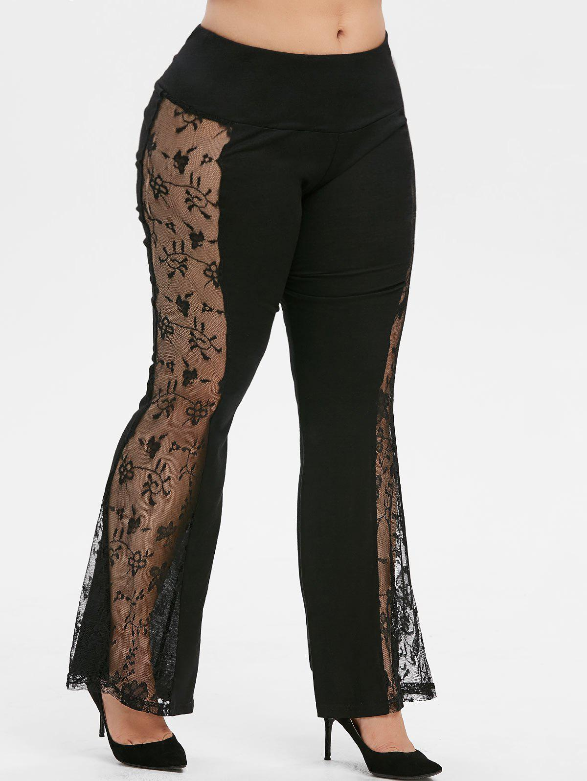 Mid Rise Lace Panel Plus Size Flare Pants - BLACK L