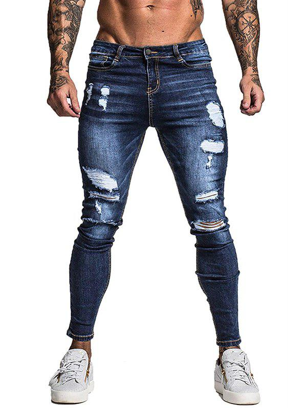 Ripped Destroyed Zip Fly Casual Jeans - DEEP BLUE L