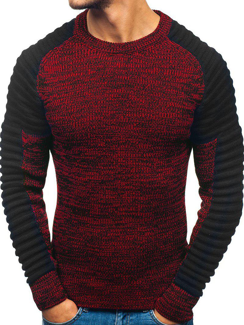 Pleated Shoulder Heather Knit Pullover Sweater - RED WINE M