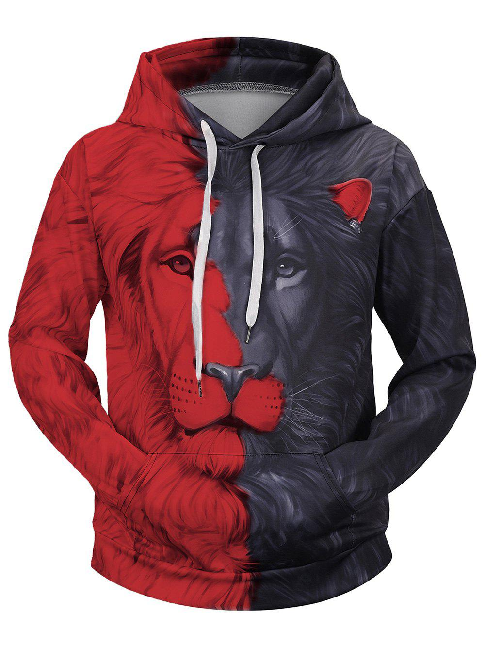 Contrast Color Lion Printed Hoodie - RED M