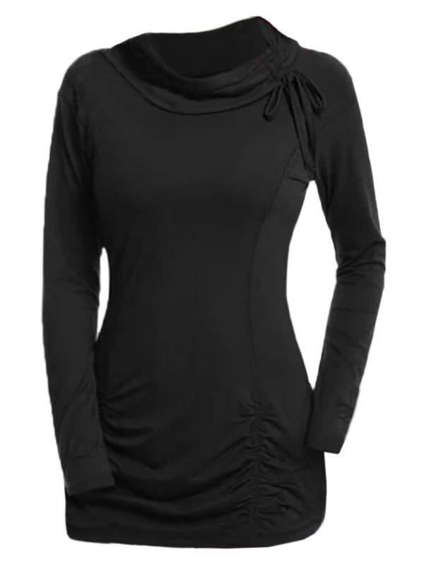 Plus Size Cinched Ruched T Shirt - BLACK 1X
