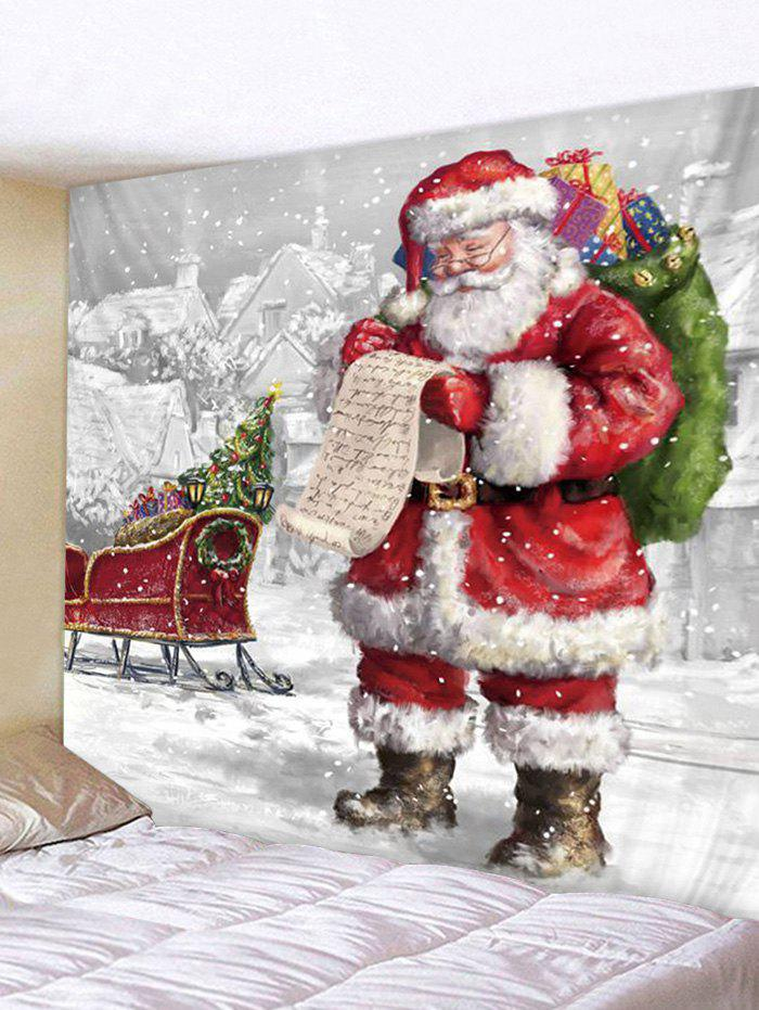 Christmas Santa Claus Sleigh Print Tapestry Wall Hanging Art Decoration - multicolor W91 X L71 INCH