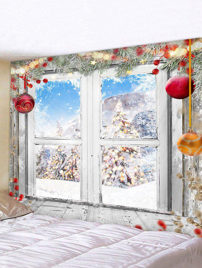 Christmas Tree Balls Window Print Tapestry Wall Hanging Art Decoration - multicolor W59 X L51 INCH