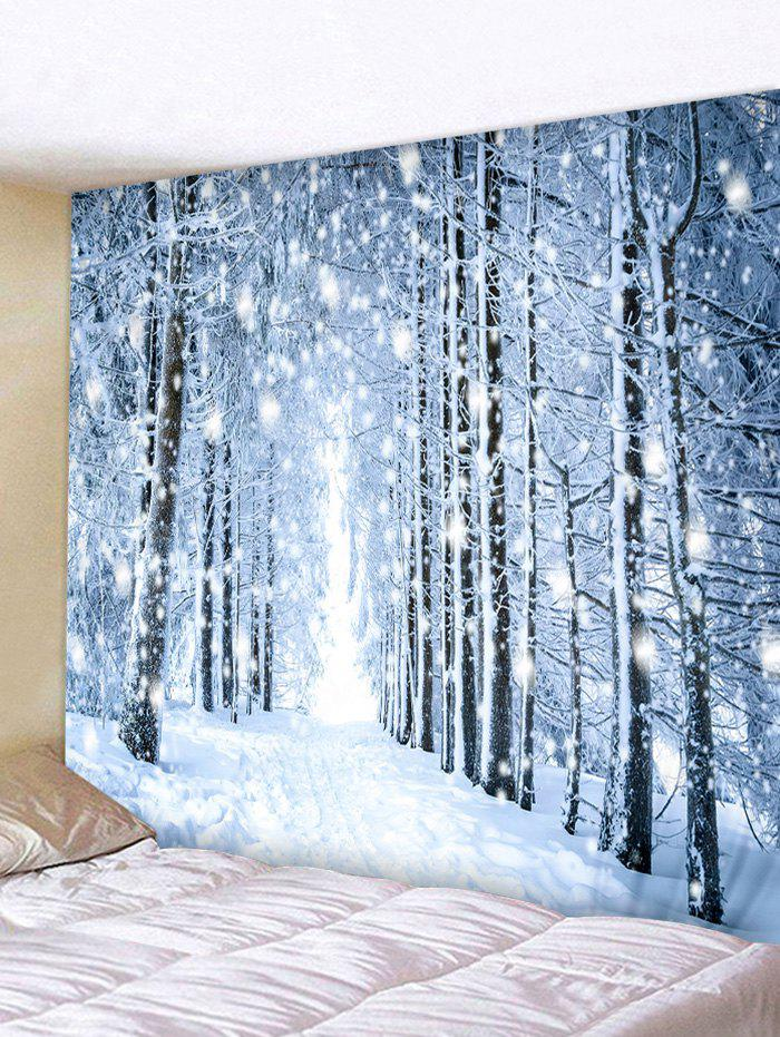 Snow Forest Road Print Tapestry Wall Hanging Decor - PASTEL BLUE W71 X L71 INCH