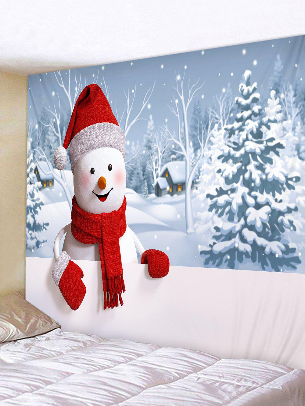 Christmas Snowman Village Print Tapestry Wall Hanging Art Decoration - multicolor W79 X L59 INCH