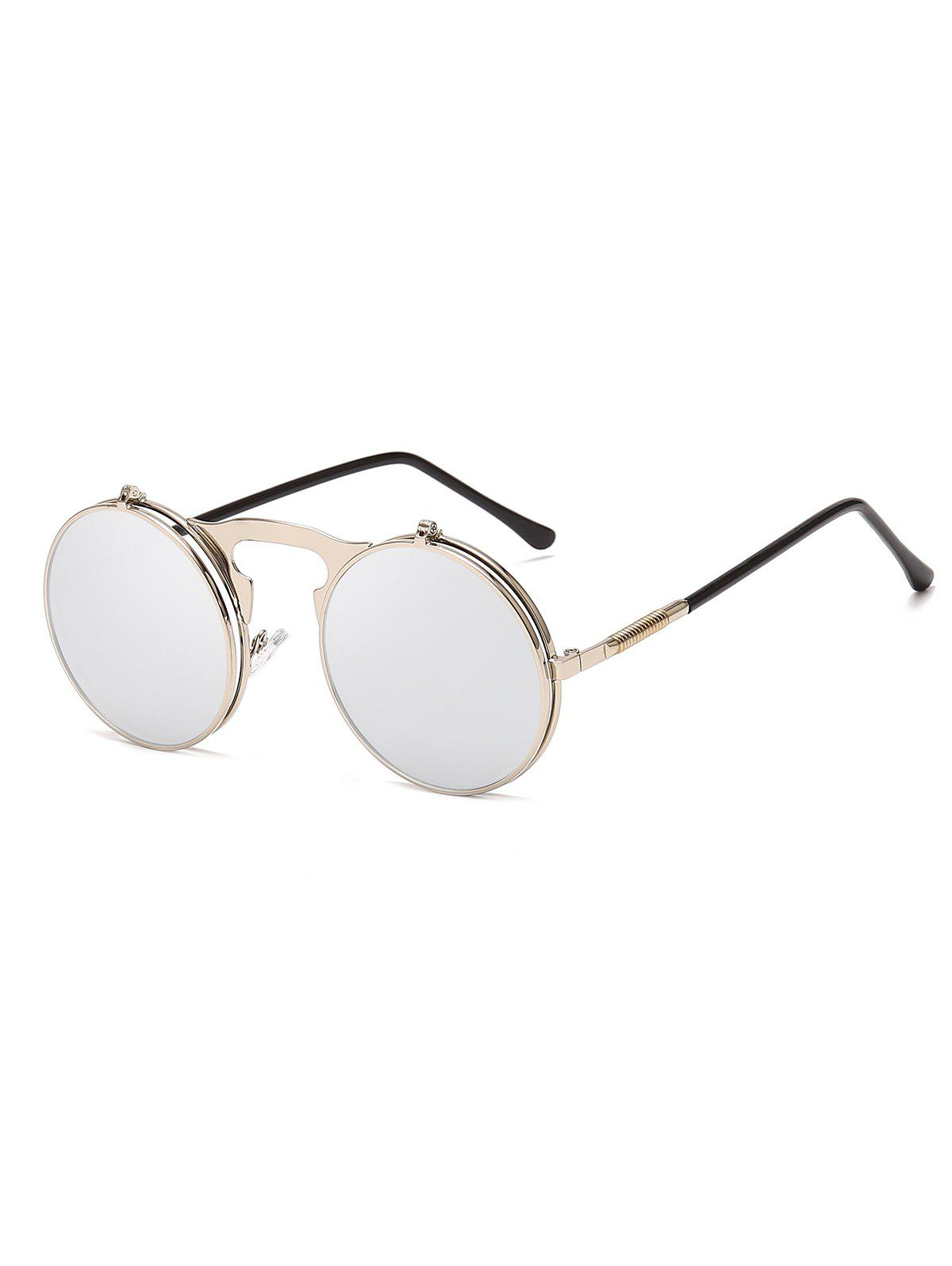 Metal Frame Flip Round Sunglasses - SILVER