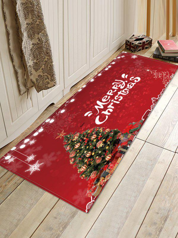 Christmas Tree Balls Light String Pattern Water Absorption Area Rug - RED W16 X L47 INCH