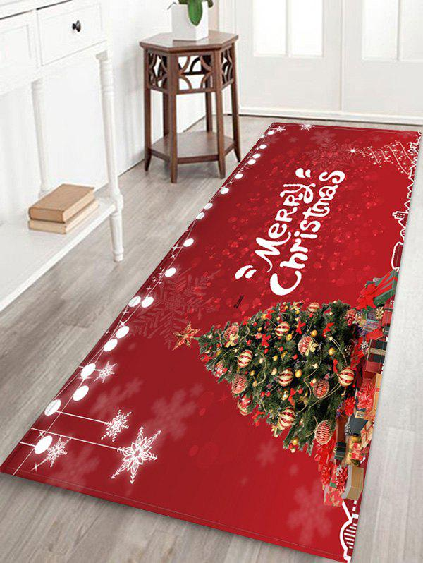 Christmas Tree Balls Light String Pattern Water Absorption Area Rug - RED W24 X L71 INCH