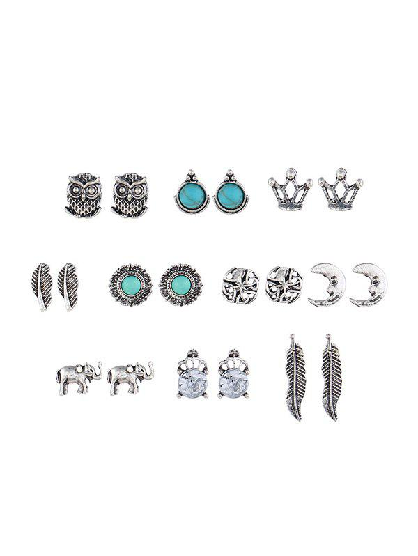 Faux Turquoise Owl Elephant Earring Set - SILVER