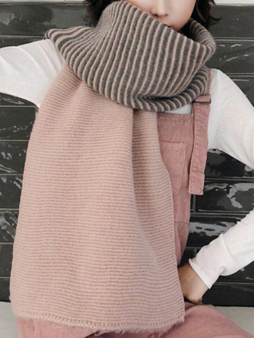 Contrast Striped Long Wrap Scarf - ROSE