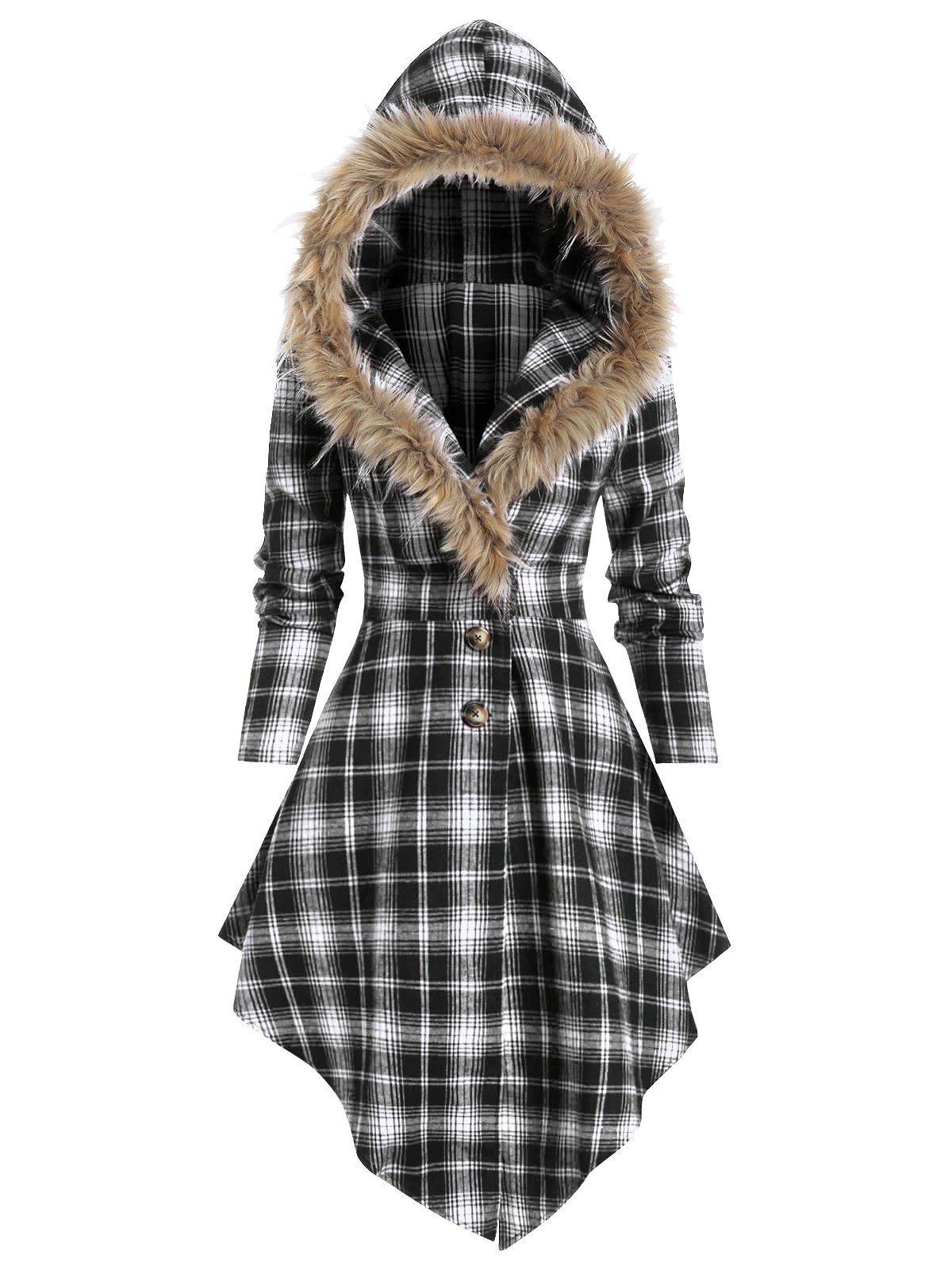 Faux Fur Hooded Plaid Print Lace-up Skirted Coat - BLACK 2XL