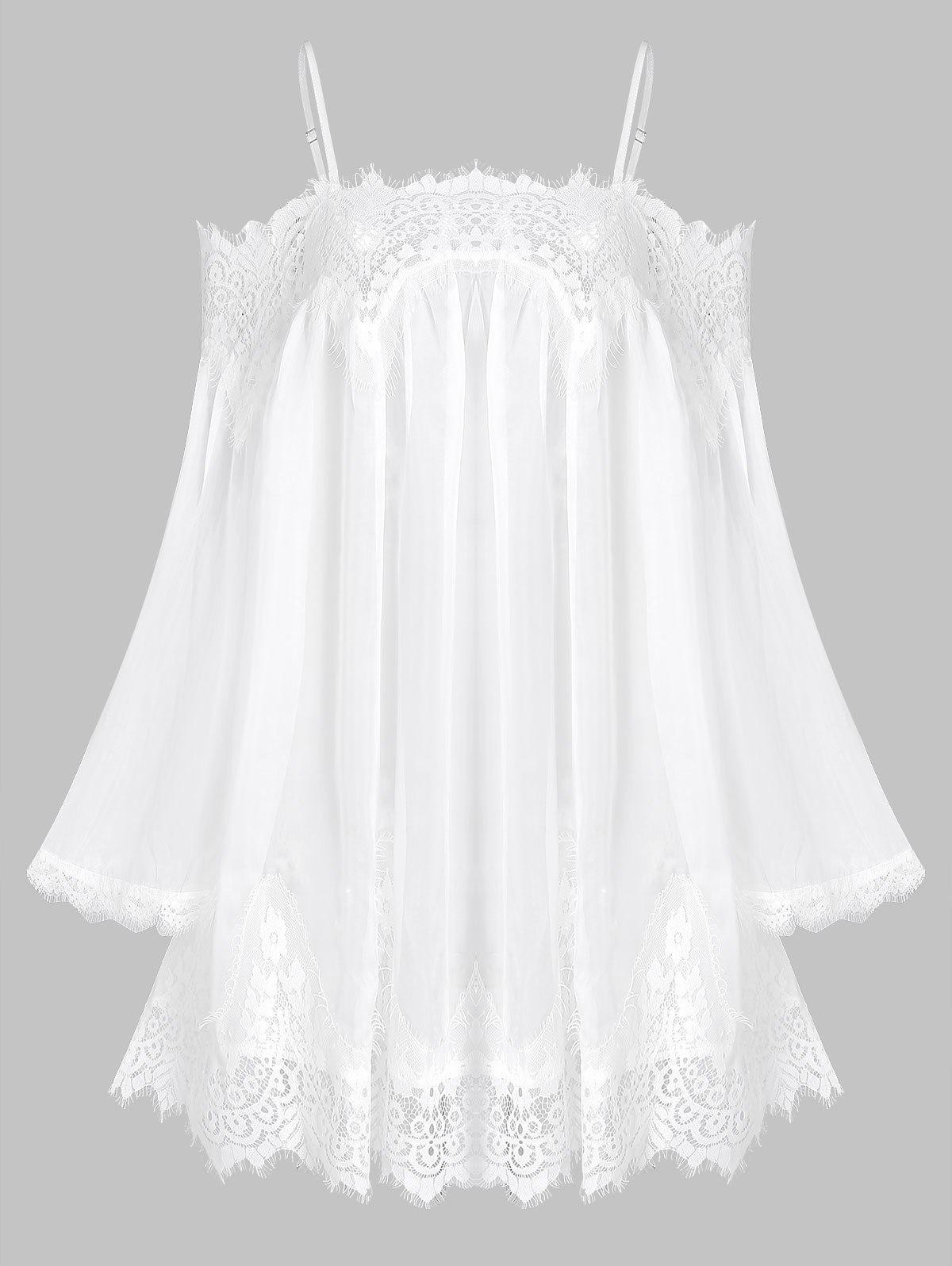 Lace Insert Open Shoulder Chiffon Cover Up - WHITE 3XL