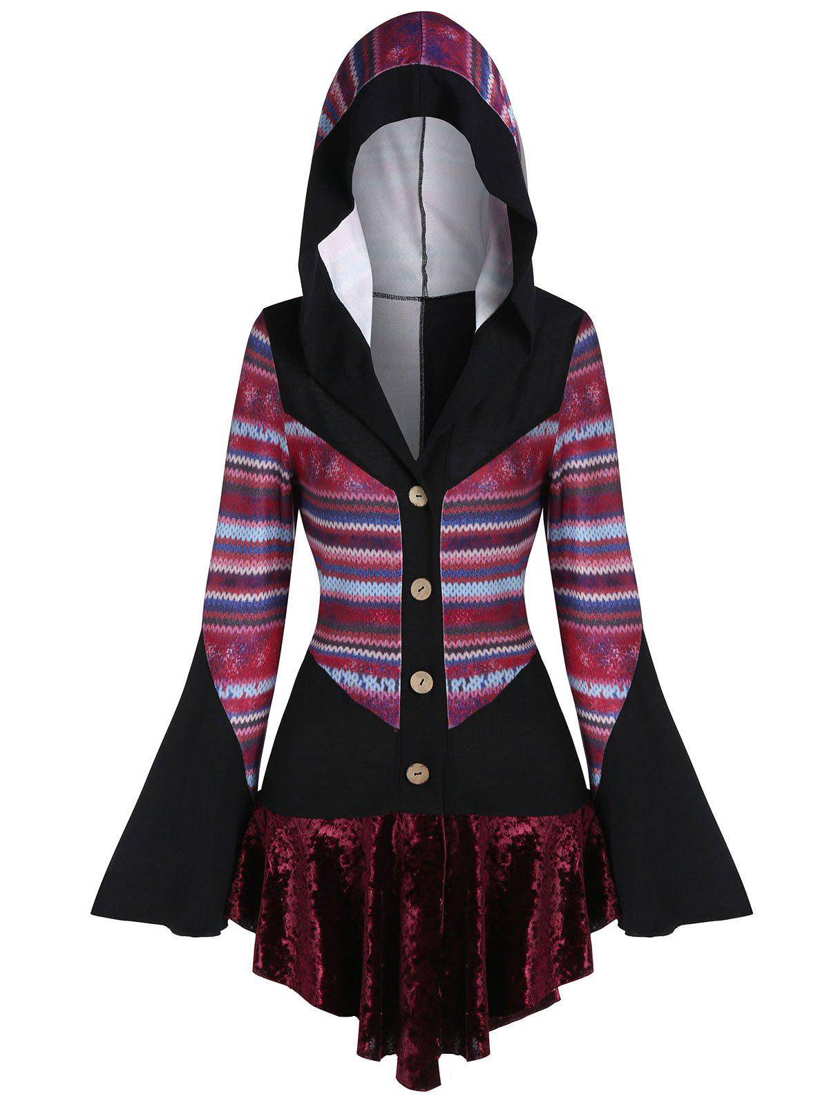 Zigzag Print Flare Sleeve Hooded Sweater - multicolor A 3XL